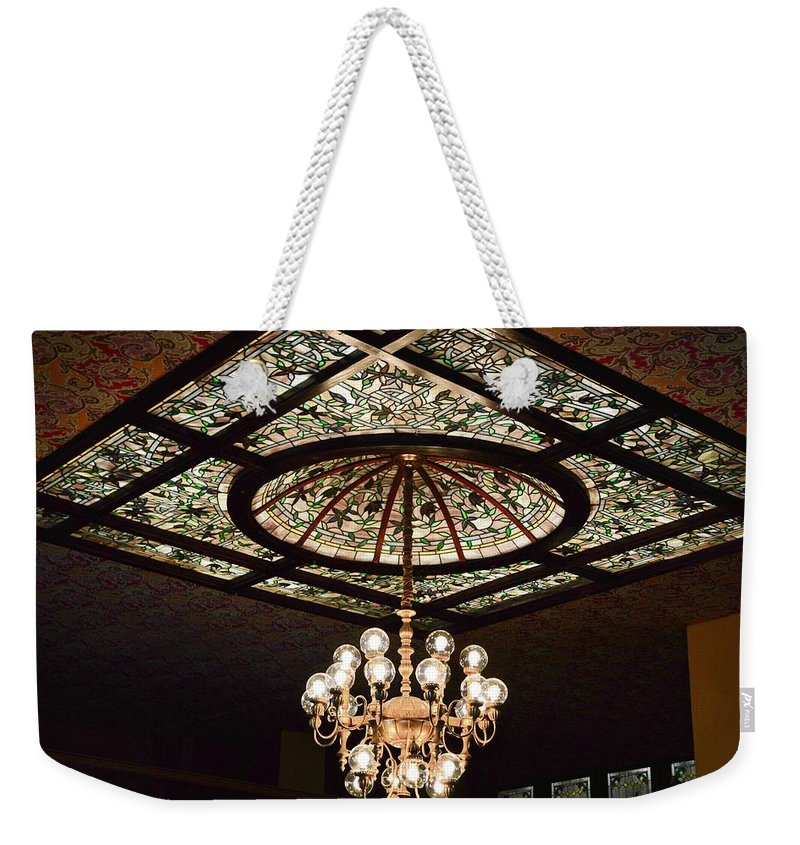 Ceiling Weekender Tote Bag featuring the photograph Savannah Antique Ceiling by Linda Covino