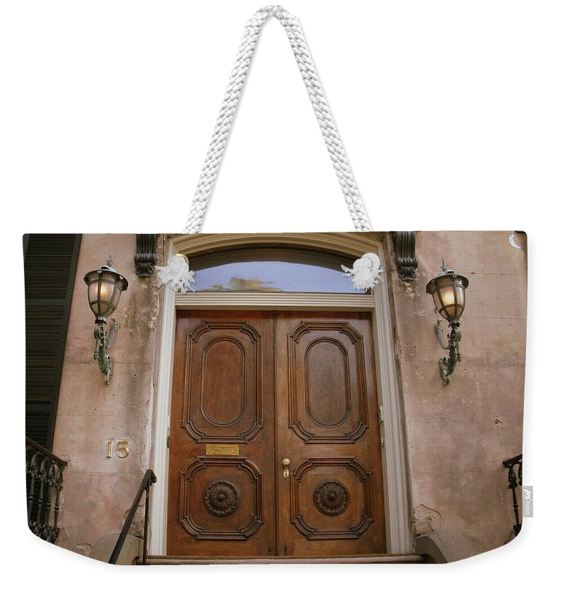 Weekender Tote Bag featuring the photograph Savannah Doors I by Jacqueline Manos