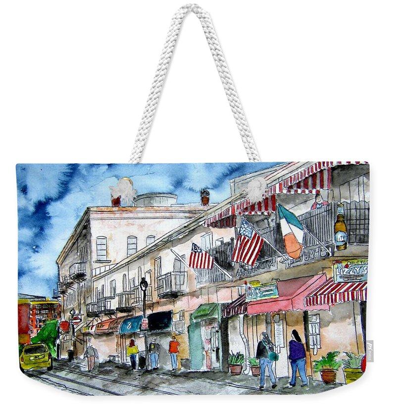 Pen And Ink Weekender Tote Bag featuring the painting Savannah Georgia River Street by Derek Mccrea