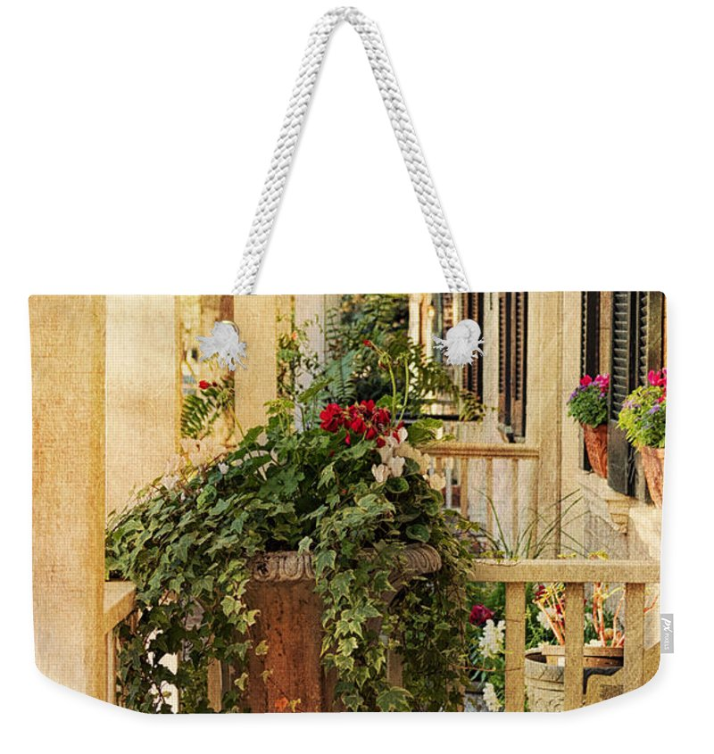 House Weekender Tote Bag featuring the photograph Savannah Porch by Kim Hojnacki