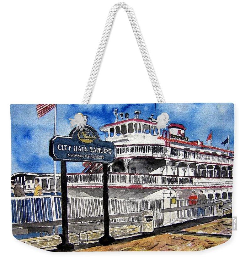 Savannah Weekender Tote Bag featuring the painting Savannah River Queen Boat Georgia by Derek Mccrea