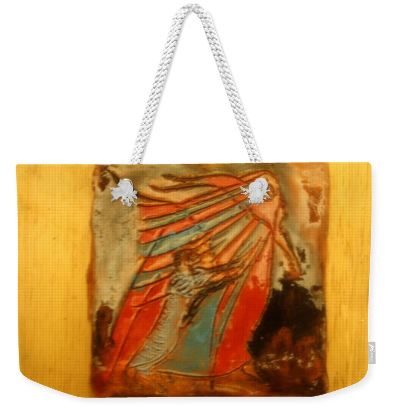 Jesus Weekender Tote Bag featuring the ceramic art Save It - Tile by Gloria Ssali