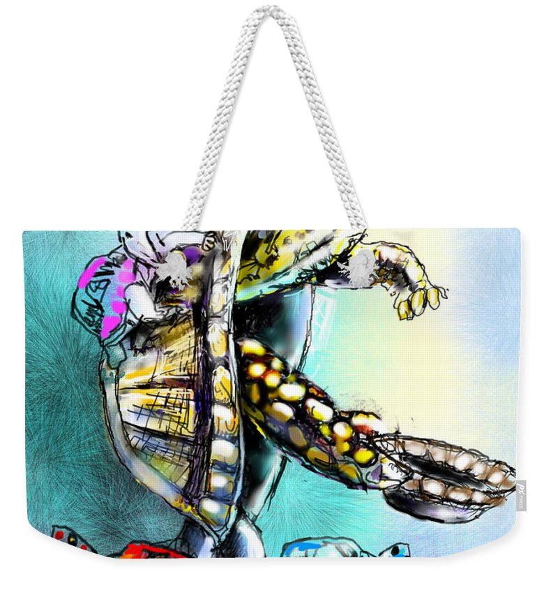 Turtle Painting Weekender Tote Bag featuring the digital art Save My Family by Miki De Goodaboom