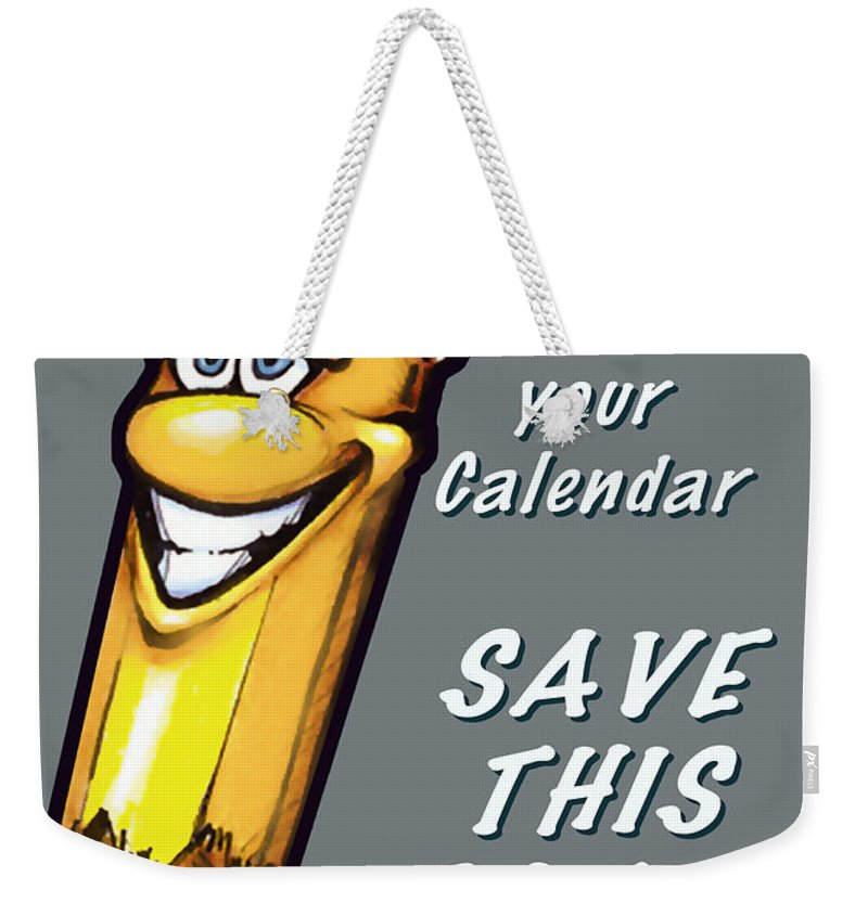 Calendar Weekender Tote Bag featuring the greeting card Save This Date by Kevin Middleton