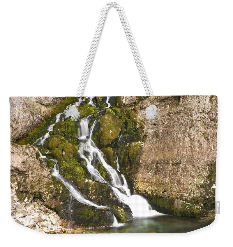 White Weekender Tote Bag featuring the photograph Savica Waterfall by Ian Middleton