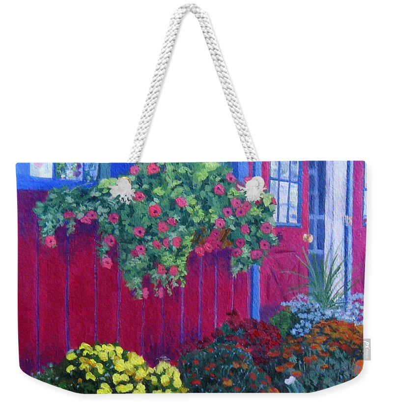 Acrylic Weekender Tote Bag featuring the painting Savickis Market by Lynne Reichhart