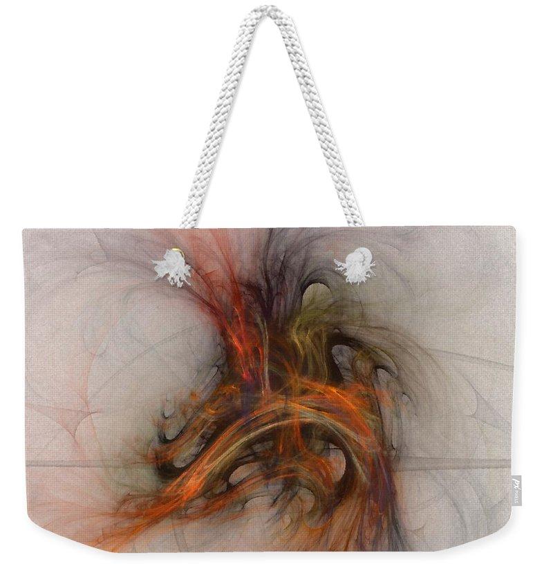 Saving Weekender Tote Bag featuring the digital art Saving Omega - Fractal Art by NirvanaBlues