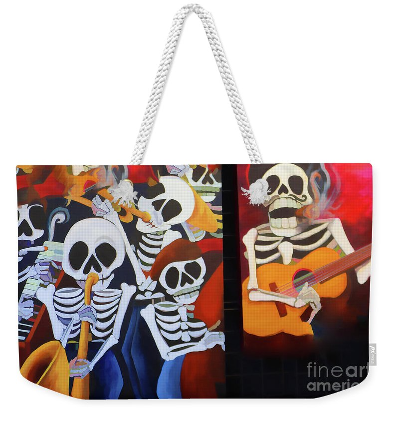 Dia De Los Muertos Weekender Tote Bag featuring the photograph Sax Guitar Music Day Of The Dead by Chuck Kuhn