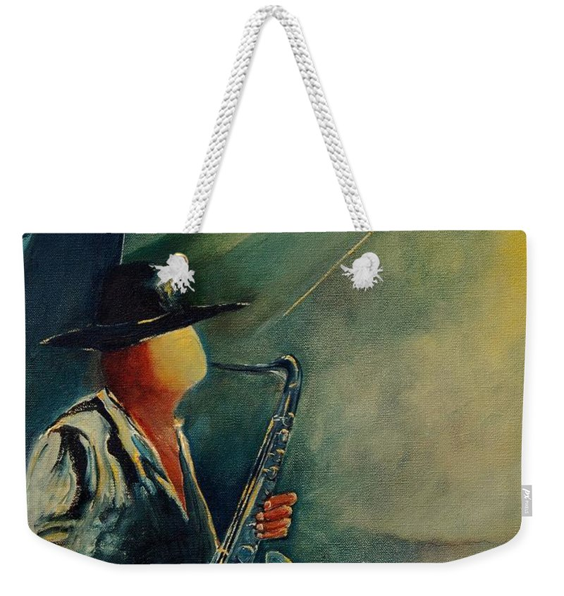 Music Weekender Tote Bag featuring the painting Sax Player by Pol Ledent