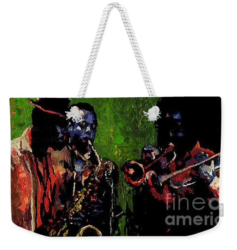 Jazz Weekender Tote Bag featuring the painting Saxophon Players. by Yuriy Shevchuk