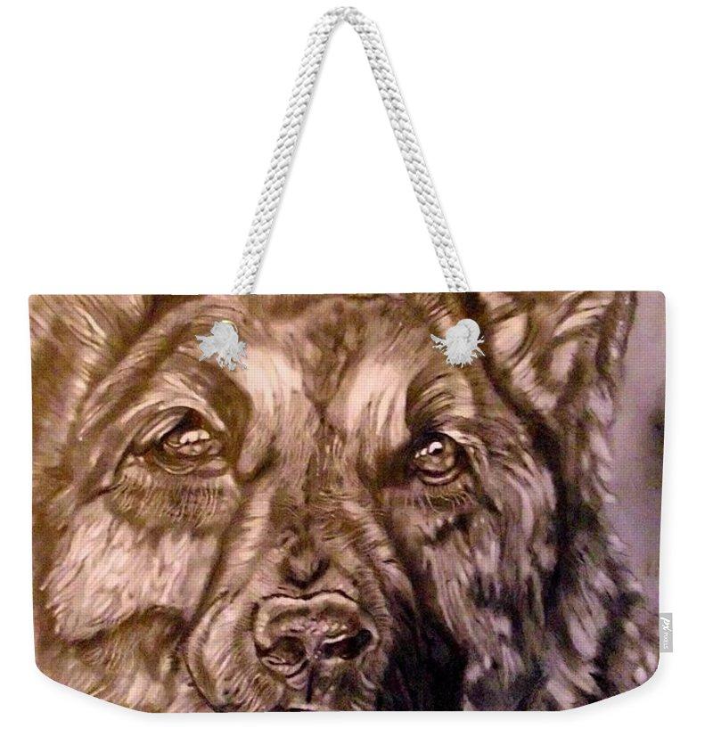 Dog Weekender Tote Bag featuring the drawing Say Ahh by Herbert Renard