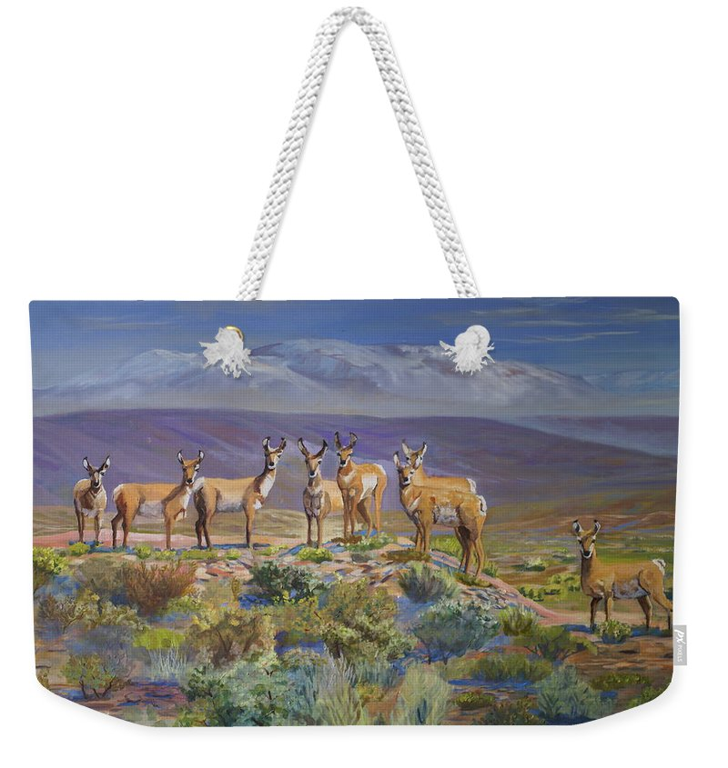 Antelope Weekender Tote Bag featuring the painting Say Cheese Antelope by Heather Coen