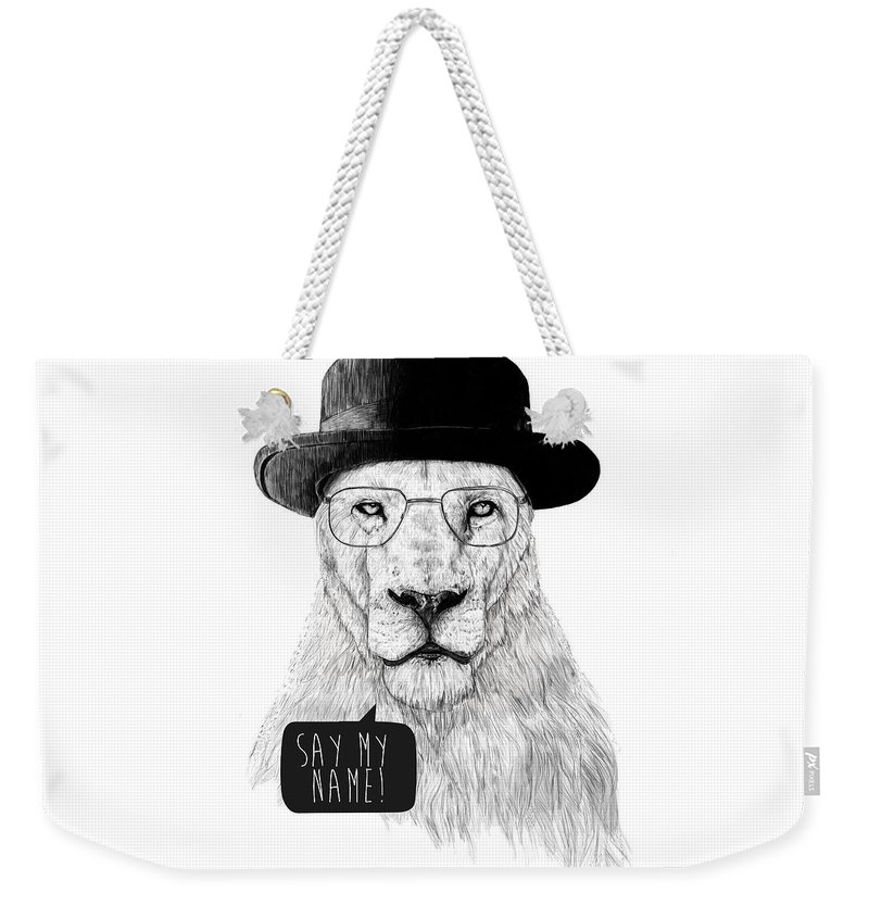 Lion Weekender Tote Bag featuring the mixed media Say My Name by Balazs Solti