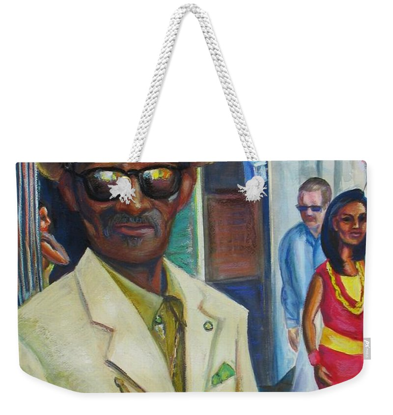 Mixed Media Weekender Tote Bag featuring the mixed media Say Uncle by Beverly Boulet