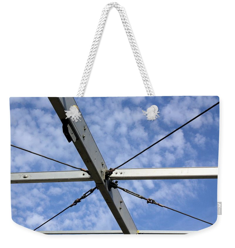 Sky Weekender Tote Bag featuring the photograph Scaffolding Sky View by Jo Hoden