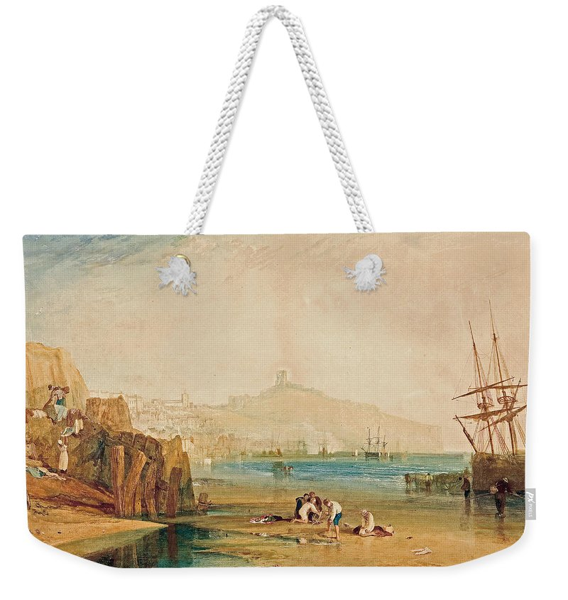 19th Century Art Weekender Tote Bag featuring the painting Scarborough Town And Castle by Joseph Mallord William Turner