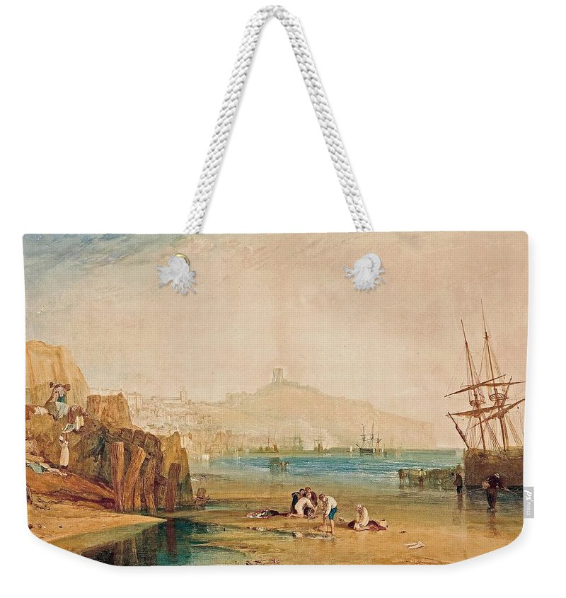 Scarborough Town And Castle Weekender Tote Bag featuring the painting Scarborough Town And Castle Morning Boys Catching Crabs by Grypons Art