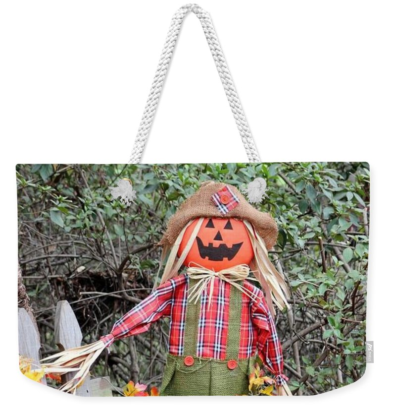 Garden Weekender Tote Bag featuring the photograph Scarecrow In The Garden by Gayle Miller