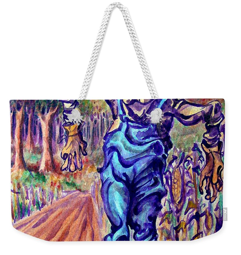 Scarecrow Weekender Tote Bag featuring the painting Scarecrow by Kevin Middleton