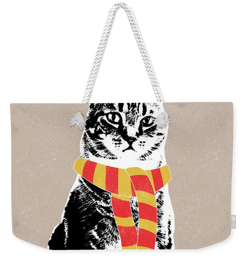 Cat Weekender Tote Bag featuring the mixed media Scarf Weather Cat- Art By Linda Woods by Linda Woods