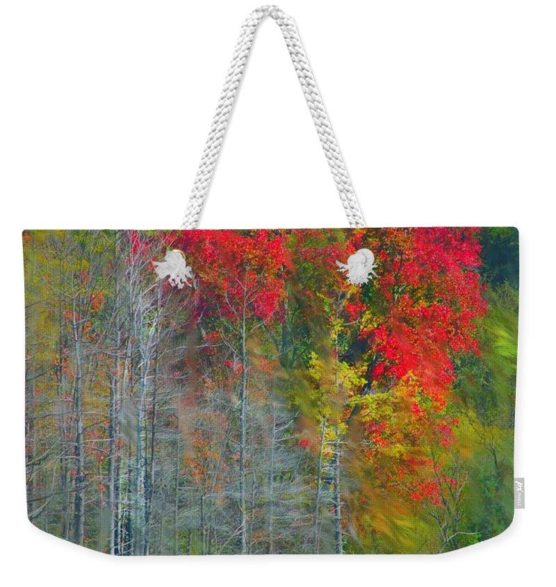 Landscape Weekender Tote Bag featuring the digital art Scarlet Autumn Burst by David Lane