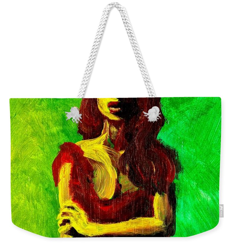Expressionist Weekender Tote Bag featuring the painting Scarlet by Jason Reinhardt