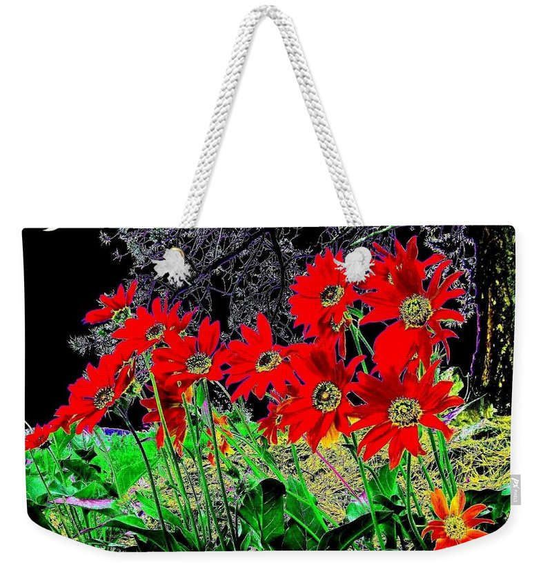 Abstract Weekender Tote Bag featuring the digital art Scarlet Night by Will Borden