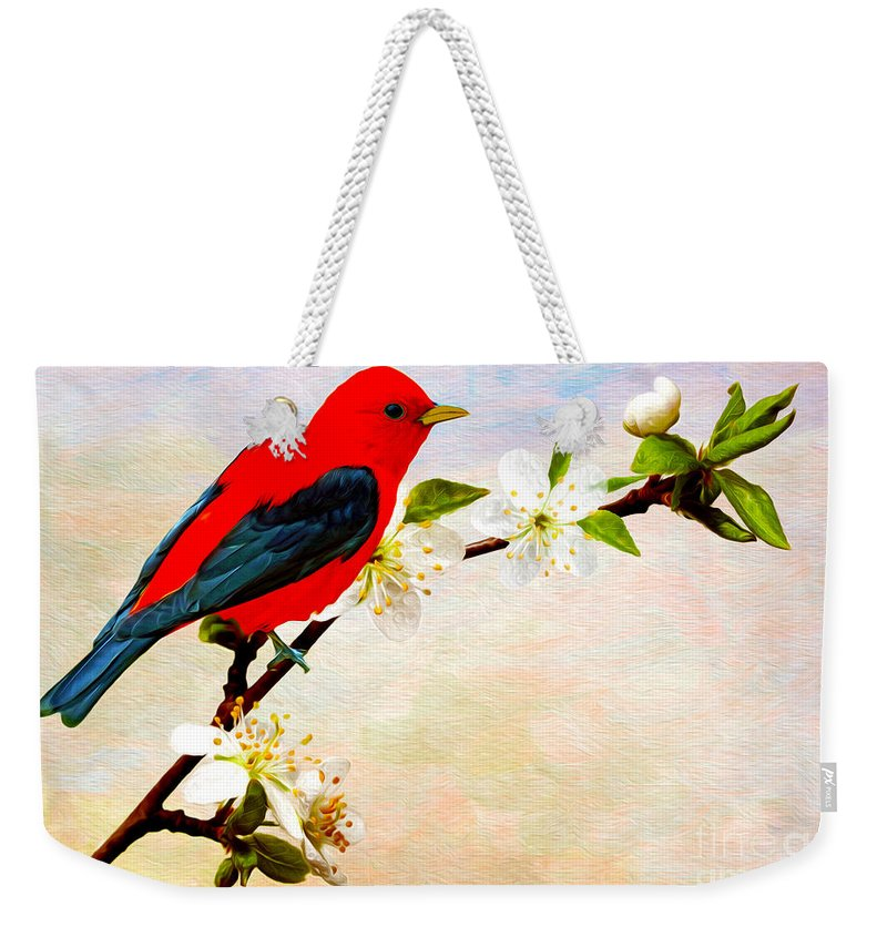 Scarlet Tanager Weekender Tote Bag featuring the photograph Scarlet Tanager by Laura D Young