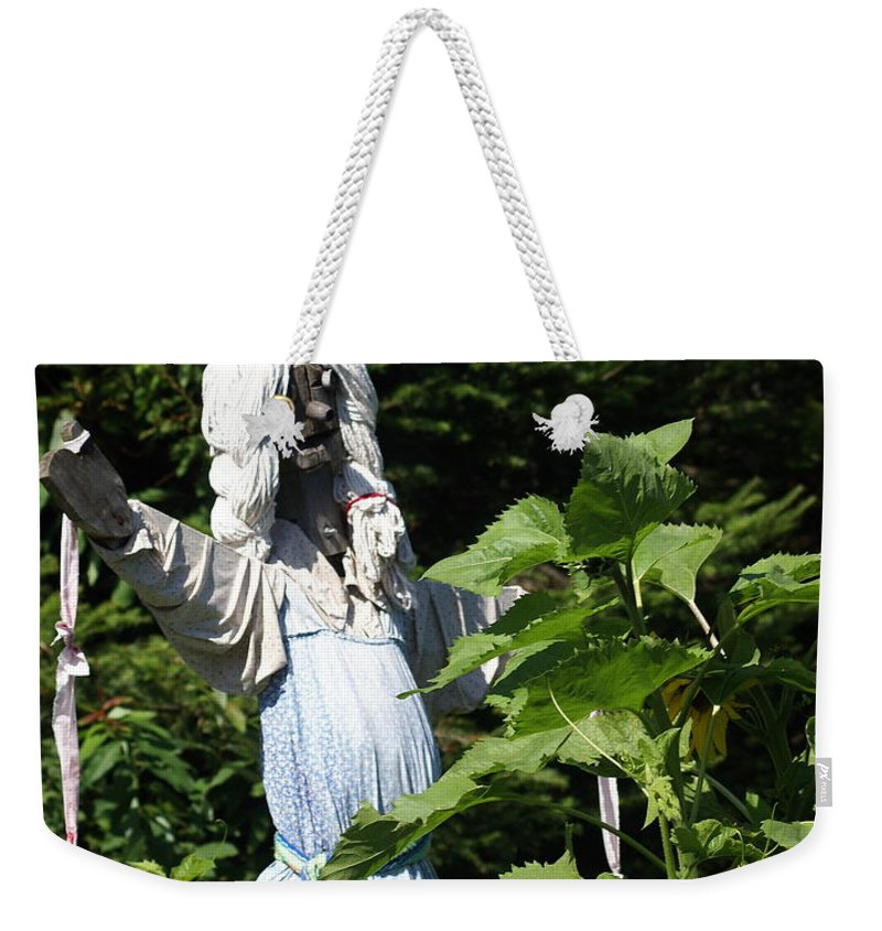 Scary Scarecrow Weekender Tote Bag featuring the photograph Scary Scarecrow by Marty Koch