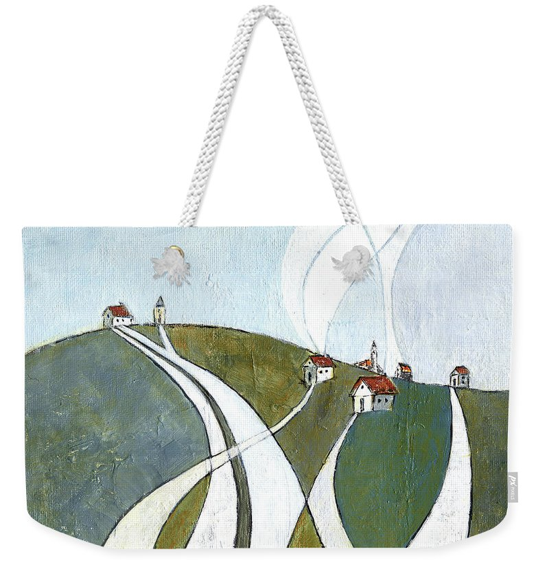 Painting Weekender Tote Bag featuring the painting Scattered Houses by Aniko Hencz