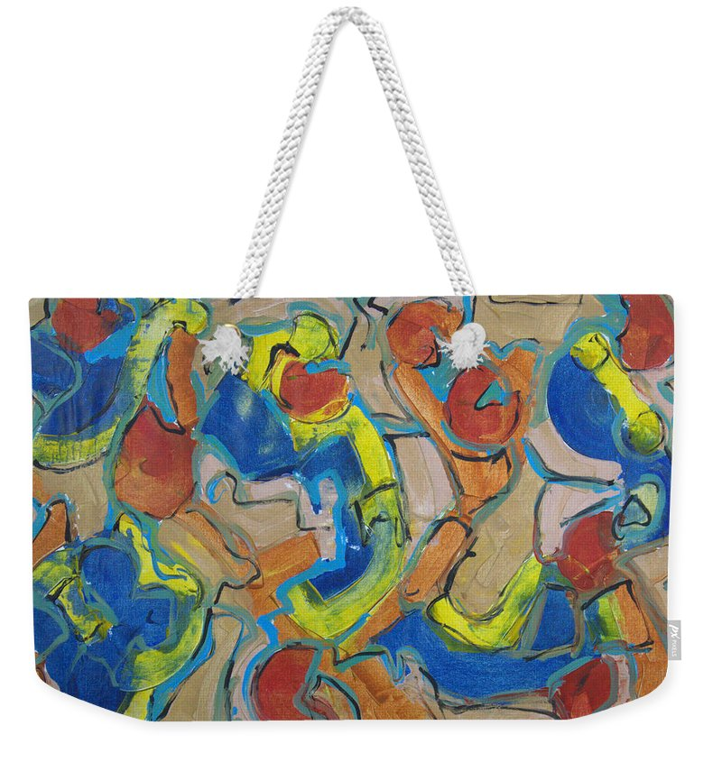 Abstract Weekender Tote Bag featuring the painting Scattered Roses by Robert Dalton