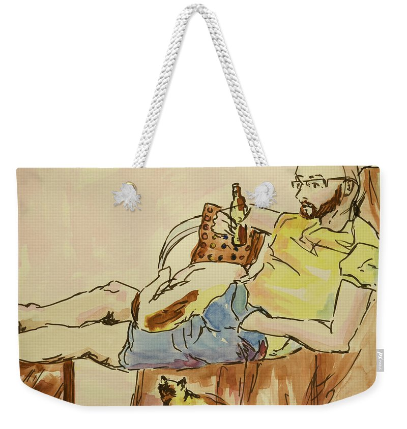 Man Weekender Tote Bag featuring the painting Scene Of Everyday Life by Melissa Brazeau