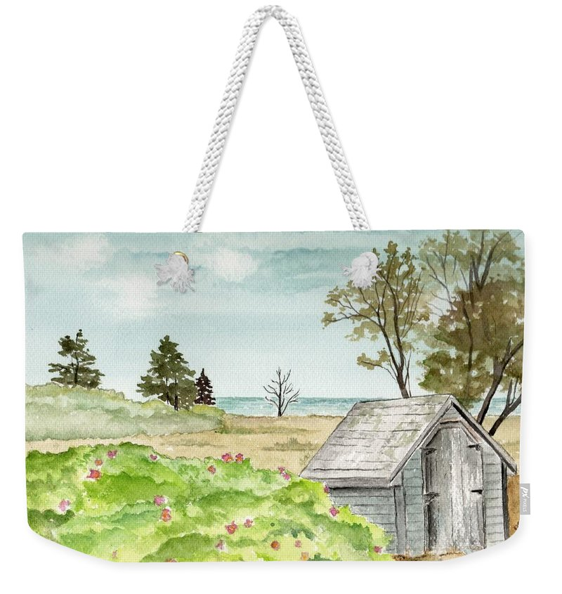 Landscape Watercolor Scenery Scenic Trees Roses Shed Building Art Painting Maine Weekender Tote Bag featuring the painting Scenic Maine  by Brenda Owen
