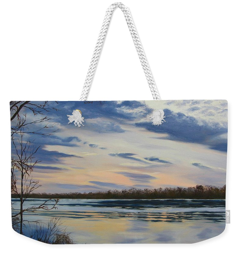 Clouds Weekender Tote Bag featuring the painting Scenic Overlook - Delaware River by Lea Novak