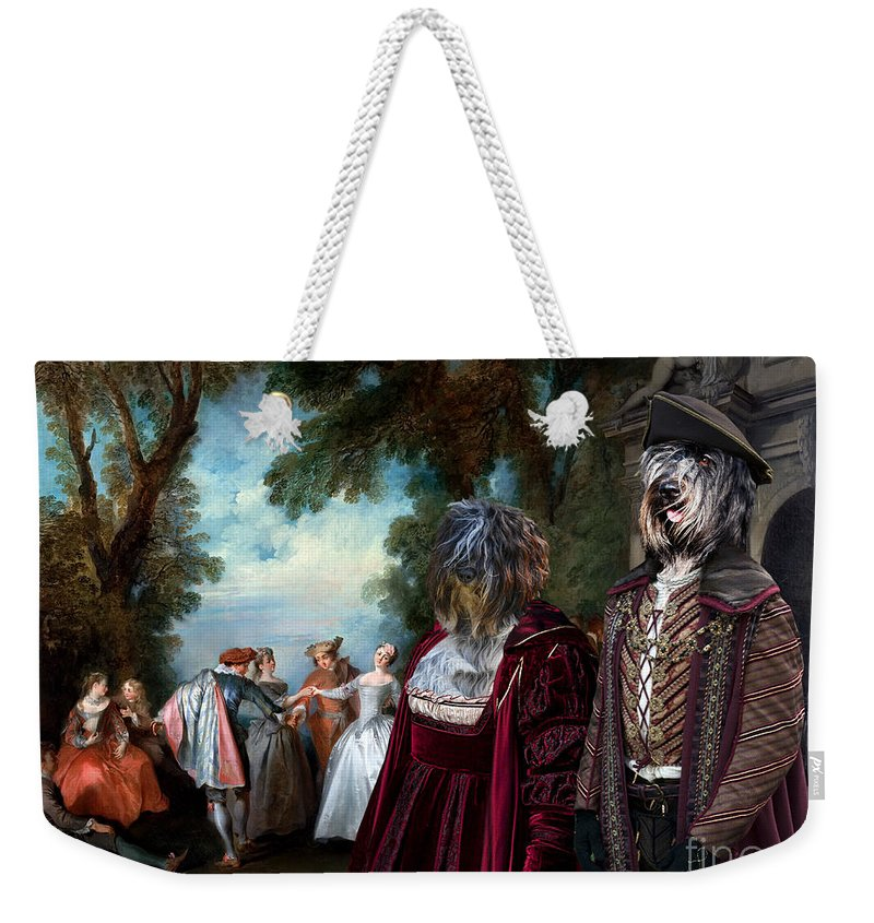 Schapendoes Weekender Tote Bag featuring the painting Schapendoes Art Canvas Print - Dance Before A Fountain by Sandra Sij
