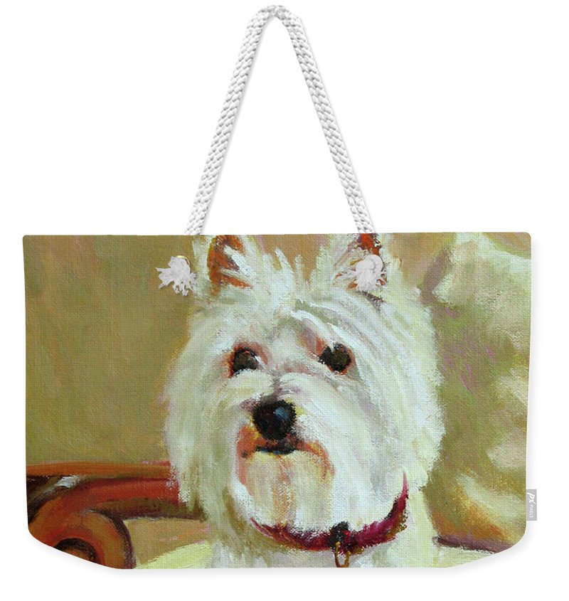 Pet Weekender Tote Bag featuring the painting Schatzie by Keith Burgess