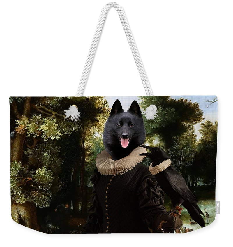 Schipperke Weekender Tote Bag featuring the painting Schipperke Art Canvas Print - Forest Landscape With A Hunter And Noble Lady by Sandra Sij