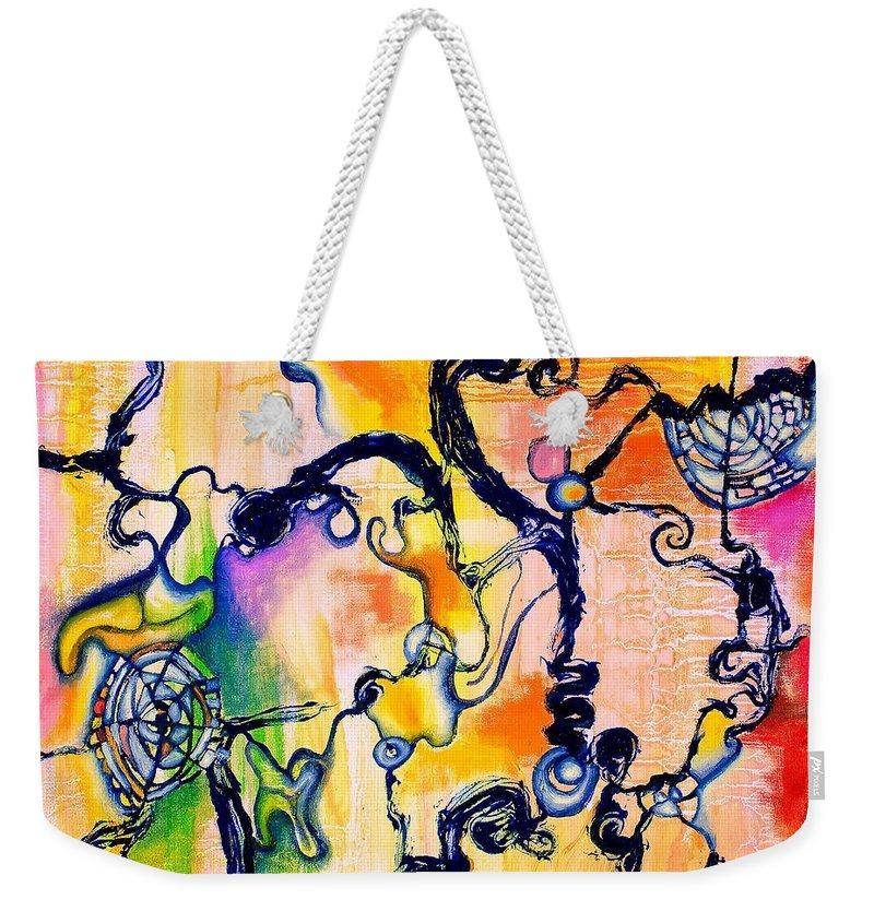 Schieleren Weekender Tote Bag featuring the painting Schlieren Chiarascuro by Regina Valluzzi