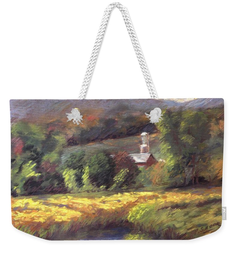 Schoharie Valley Upstate New York Landscape Weekender Tote Bag featuring the pastel Schoharie Valley by Pat Snook