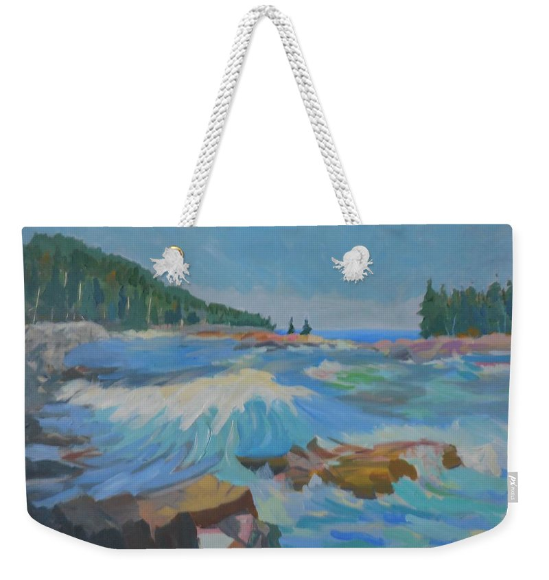 Landscape Weekender Tote Bag featuring the painting Schoodic Inlet by Francine Frank