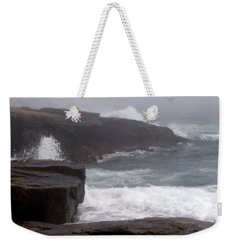 Waves Weekender Tote Bag featuring the photograph Schoodic Point by Lisa Kane