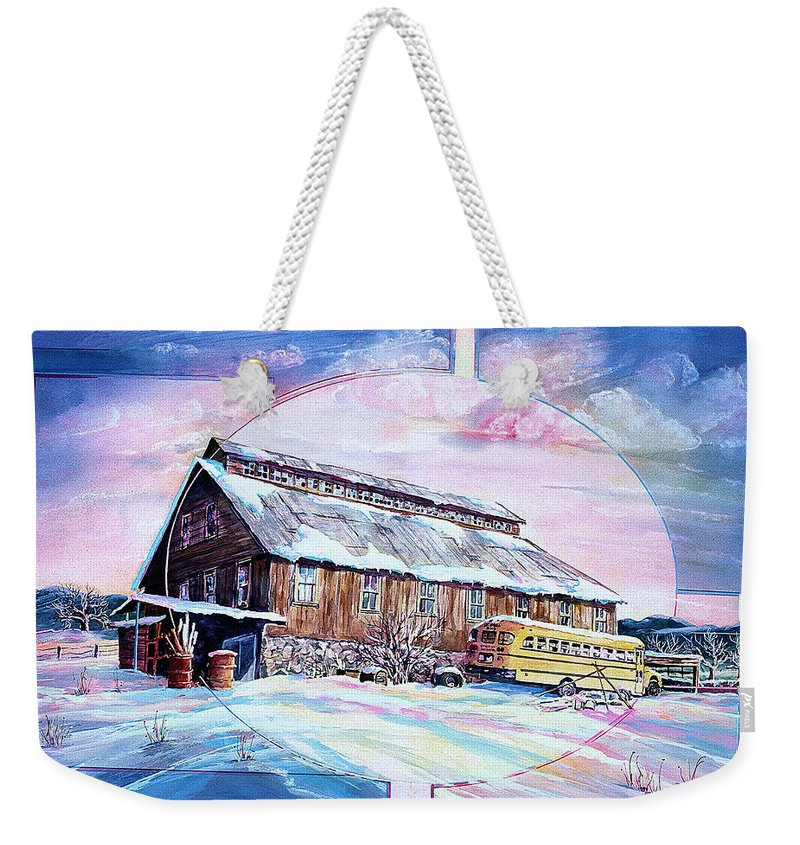 Bar Weekender Tote Bag featuring the painting School Bus And Barn by Connie Williams