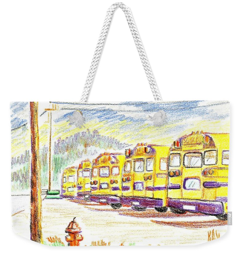 School Bussiness Weekender Tote Bag featuring the mixed media School Bussiness by Kip DeVore