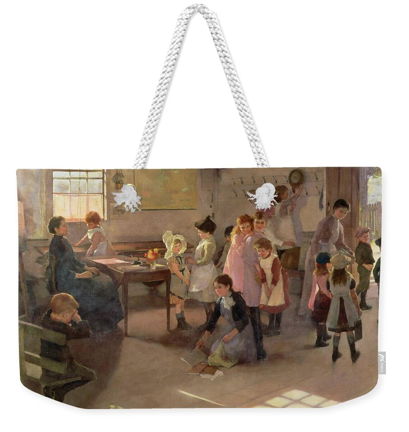School Is Out Weekender Tote Bag featuring the painting School Is Out by Elizabeth Adela Stanhope Forbes