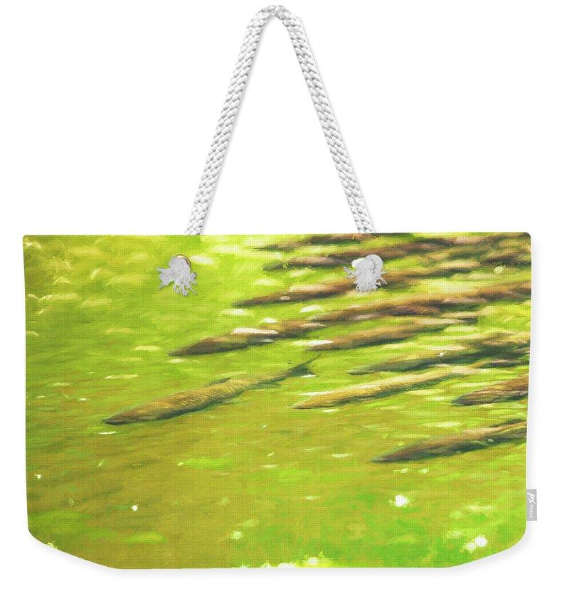 Fish Weekender Tote Bag featuring the digital art School Time by Allen Kurth