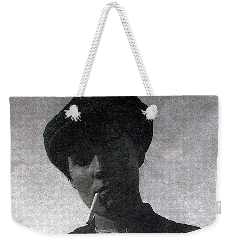 Old Photo Black And White Classic Saskatchewan Pioneers History Weekender Tote Bag featuring the photograph Schools Out by Andrea Lawrence