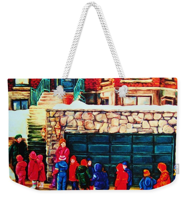 Montreal Streetscenes Weekender Tote Bag featuring the painting Schools Out by Carole Spandau