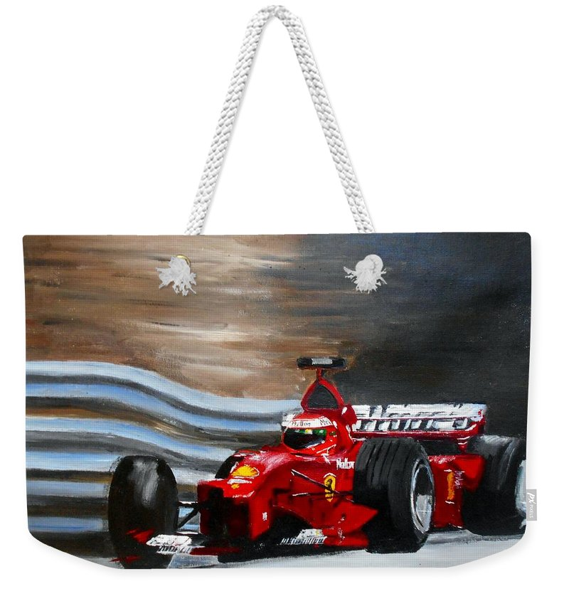 Art Weekender Tote Bag featuring the painting Schumacher Monaco by Angie Wright