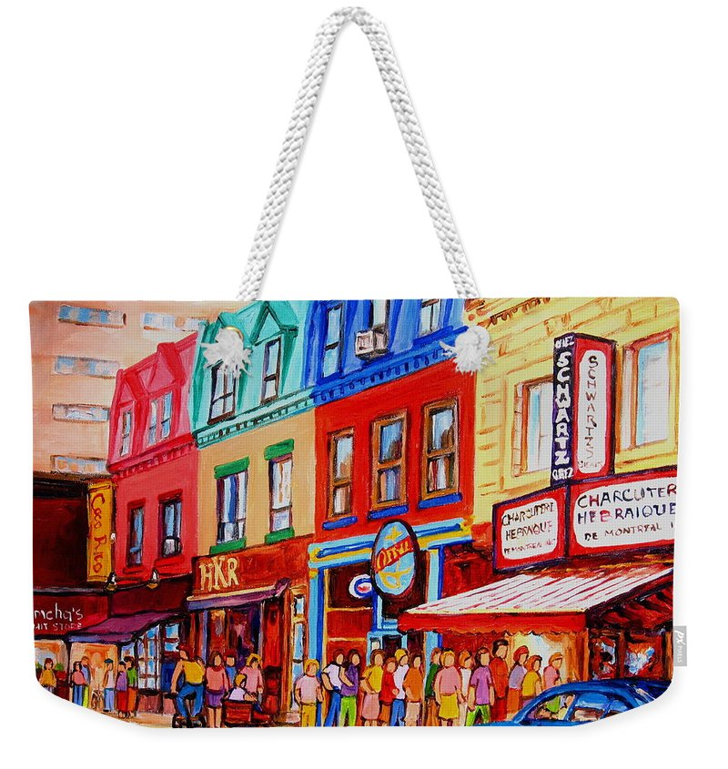 Cityscape Weekender Tote Bag featuring the painting Schwartz Lineup With Simcha by Carole Spandau
