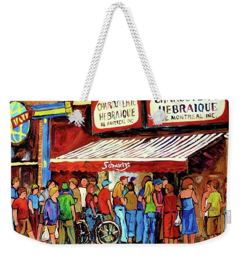 Schwartz Deli Weekender Tote Bag featuring the painting Schwartzs Deli Lineup by Carole Spandau